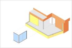 Isometría - Nuevo cerramiento en dormitorio principal